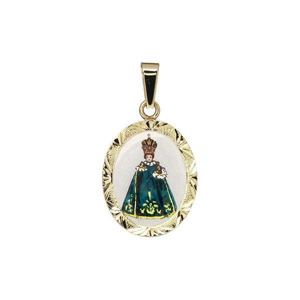 185R green Infant Jesus of Prague Medallion