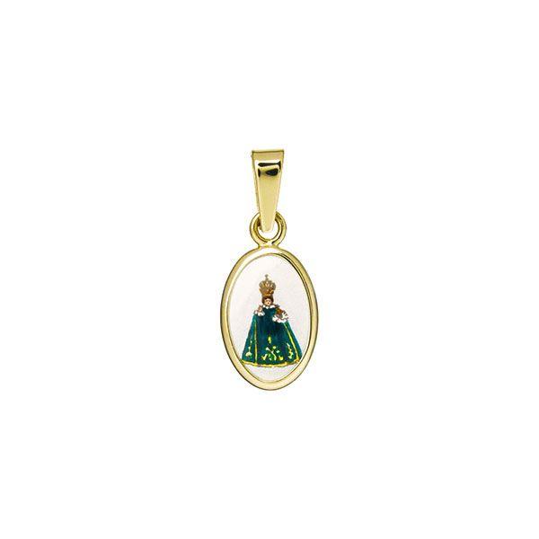 011H green Infant Jesus of Prague miniature medal