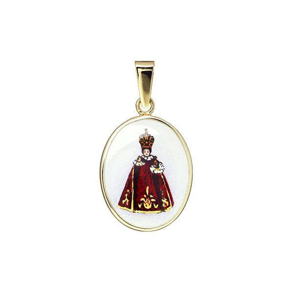 185H crimson Holy Child of Prague Medal
