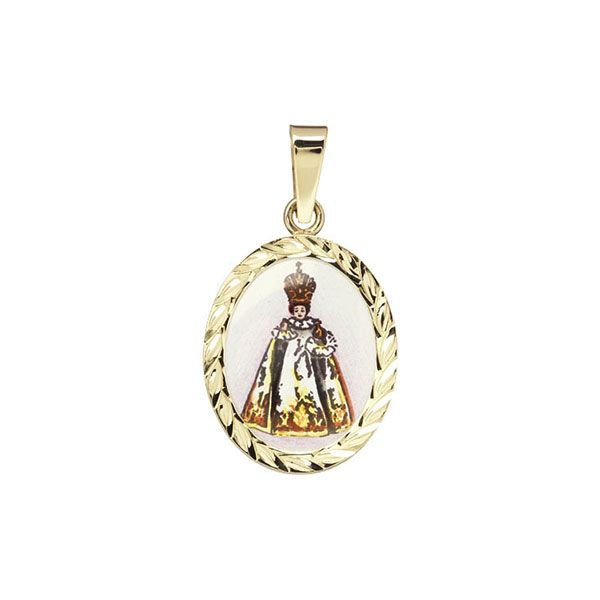 185R white Infant Jesus of Prague Medallion