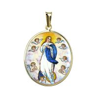 Annahme von Maria mit Engeln Emailmedaillon